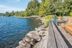 Gene Coulon Park Shoreline Arkivbilder