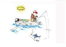 Gene e uma pesca da criança em um barco Foto de Stock Royalty Free