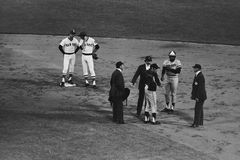 Gene Mauch and Larry Hisle argue a call. Stock Image