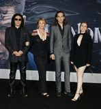 Gene Simmons, Nick Simmons, Shannon Tweed and Sophie Simmons. At the Los Angeles premiere of `Venom` held at the Regency Village Theatre in Westwood, USA on stock photos