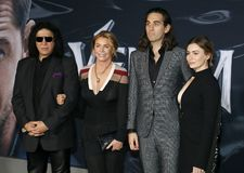 Gene Simmons, Nick Simmons, Shannon Tweed and Sophie Simmons. At the Los Angeles premiere of `Venom` held at the Regency Village Theatre in Westwood, USA on stock image