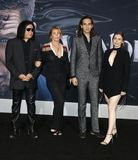 Gene Simmons, Nick Simmons, Shannon Tweed and Sophie Simmons. At the Los Angeles premiere of `Venom` held at the Regency Village Theatre in Westwood, USA on stock photography