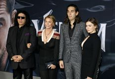 Gene Simmons, Nick Simmons, Shannon Tweed and Sophie Simmons. At the Los Angeles premiere of `Venom` held at the Regency Village Theatre in Westwood, USA on stock photo