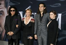 Gene Simmons, Shannon Tweed, Nick Simmons and Sophie Simmons stock photo