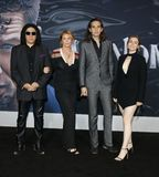 Gene Simmons, Shannon Tweed, Nick Simmons and Sophie Simmons. At the Los Angeles premiere of `Venom` held at the Regency Village Theatre in Westwood, USA on stock photography
