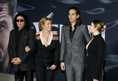 Gene Simmons, Shannon Tweed, Nick Simmons and Sophie Simmons. At the Los Angeles premiere of `Venom` held at the Regency Village Theatre in Westwood, USA on stock image