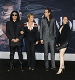 Gene Simmons, Shannon Tweed, Nick Simmons and Sophie Simmons. At the Los Angeles premiere of `Venom` held at the Regency Village Theatre in Westwood, USA on royalty free stock photos