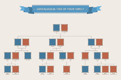 Genealogical tree of your family with bezels Stock Photography