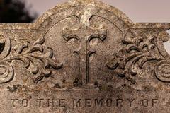 Genealogie en voorgeslacht Oude kerkhofgrafsteen ` aan het geheugen o stock foto