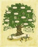 Genealogiskt träd på gammal pappers- bakgrund stock illustrationer