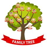 Genealogy tree, family tree with portraits of the family. stock illustration