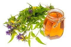 Geneeskrachtige kruiden en honing in volksgeneeskunde royalty-vrije stock afbeelding