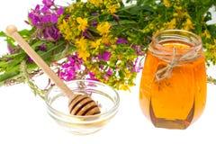 Geneeskrachtige kruiden en honing in volksgeneeskunde royalty-vrije stock fotografie