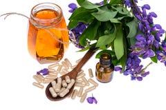 Geneeskrachtige kruiden, honing, natuurlijke capsules en pillen in geneeskunde stock afbeeldingen