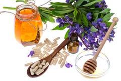 Geneeskrachtige kruiden, honing, natuurlijke capsules en pillen in geneeskunde royalty-vrije stock foto