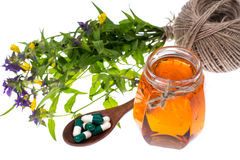 Geneeskrachtige kruiden, honing, natuurlijke capsules en pillen in geneeskunde royalty-vrije stock afbeelding