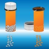 Geneeskrachtige voorbereidingen met de bank Pillen en drugs voor goede gezondheid Stock Foto's