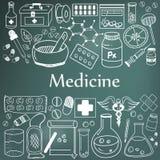 Geneeskunde en de farmaceutische pictogrammen van het krabbelhandschrift van geneeskunde vector illustratie