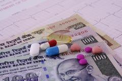 Geneeskunde en geld Royalty-vrije Stock Afbeeldingen