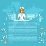Geneeskunde en geneesmiddelen die de gezondheidszorg van het verpleegstersziekenhuis glimlachen Royalty-vrije Stock Afbeeldingen