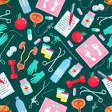 Geneeskunde en gezondheidspunten naadloos patroon Royalty-vrije Stock Fotografie