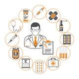 Geneeskunde en gezondheidszorginfographics Royalty-vrije Stock Afbeeldingen