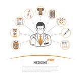 Geneeskunde en gezondheidszorginfographics Stock Fotografie