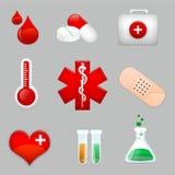 Geneeskunde en het pictogram van de Gezondheidszorg Stock Afbeeldingen