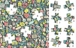 Geneeskunde: Gelijkestukken, visueel spel Oplossing in verborgen laag! Royalty-vrije Stock Fotografie