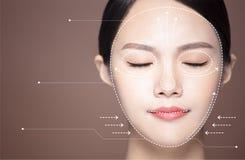 geneeskunde, plastische chirurgie en het concept van de huidzorg stock foto