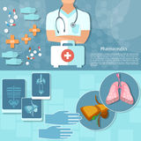 Geneeskunde uitrusting van de artsen de professionele eerste hulp Royalty-vrije Stock Fotografie