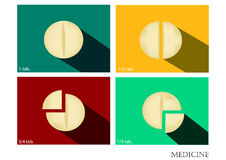 Geneeskunde vlakke die pictogrammen met lange schaduw, drug vectorbeeld, samenvatting worden geplaatst Stock Fotografie