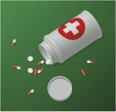 Geneeskunde witte plastic fles met tabletten en pillen vector illustratie