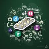 Geneeskundecollage met pictogrammen op bord Stock Afbeelding