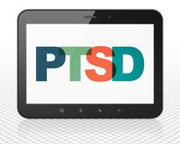 Geneeskundeconcept: De Computer van tabletpc met PTSD op vertoning Royalty-vrije Stock Afbeelding