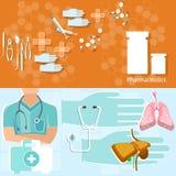 Geneeskundeconcept de uitrustingsbanners van de artsen professionele eerste hulp Stock Afbeelding