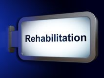Geneeskundeconcept: Rehabilitatie op aanplakbordachtergrond Stock Foto's