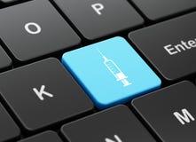 Geneeskundeconcept: Spuit op de achtergrond van het computertoetsenbord Stock Afbeeldingen