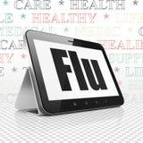 Geneeskundeconcept: Tabletcomputer met Griep op vertoning Stock Foto's