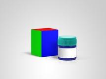 Geneeskundedoos en fles Modelontwerp stock afbeelding
