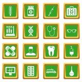 Geneeskundepictogrammen geplaatst groen Stock Afbeelding