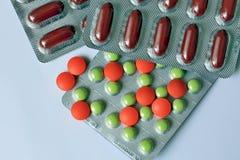 Geneeskundepillen - apotheekachtergrond Stock Afbeelding