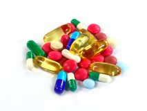 Geneeskundepillen in pakken Pillen in blaarpak, Capsules en pil in blaren wordt ingepakt die Royalty-vrije Stock Foto's