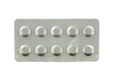 Geneesmiddelen in blaarpakken op witte achtergrond worden geïsoleerd die Stock Foto's