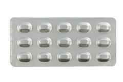 Geneesmiddelen in blaarpakken op witte achtergrond worden geïsoleerd die Stock Fotografie