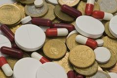 Geneesmiddelen en geldtextuur. Stock Foto