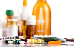 Geneesmiddelen en insulinespuit Royalty-vrije Stock Afbeelding