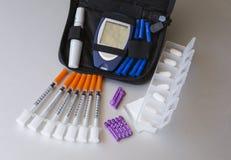 Geneesmiddelen en klinische toebehoren om diabetes te behandelen royalty-vrije stock foto's