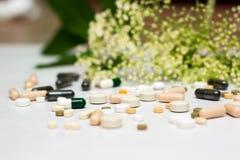 Geneesmiddelen en kruid stock foto