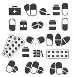 Geneesmiddelen en tabletten, medische pillencapsules Vectorreeks van bla Stock Afbeeldingen
